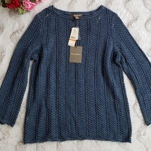 Tommy Bahama Linen Blue Knit Boat Neck Sweater S